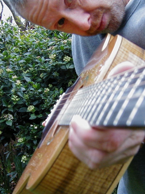 Hamish + guitar neck
